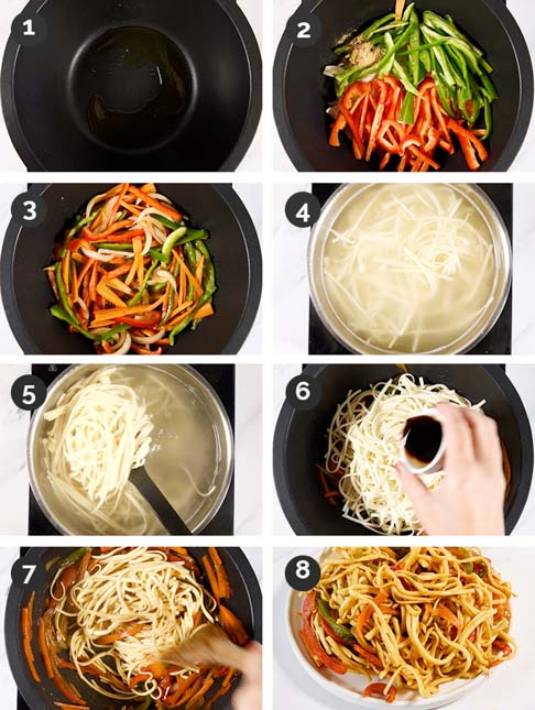 Step-by-step photos of how to make vegetable noodles