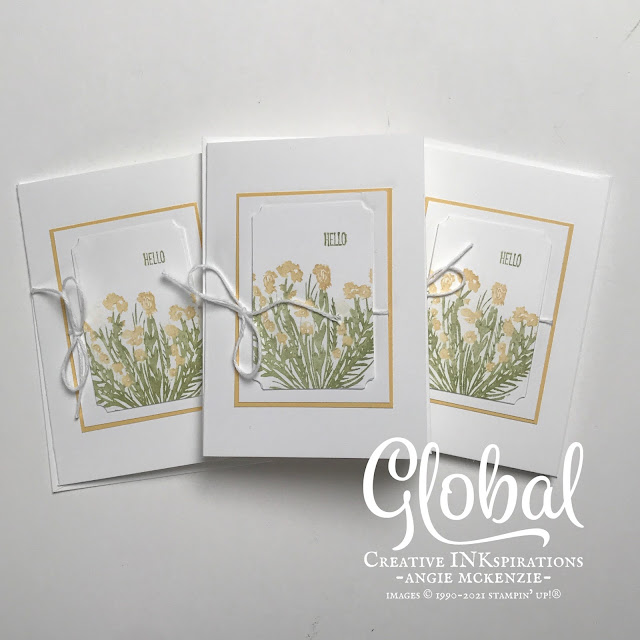 By Angie McKenzie for Global Creative Inkspirations; Click READ or VISIT to go to my blog for details! Featuring the Garden Wishes Bundle, Fluttering Dies and the Corner Bouquet Stamp Set from Sale-A-Bration; #stampinup #handmadecards #naturesinkspirations #dandelions #hellocards #cornerbouquetstampset #janfeb2021saleabration #gardenwishesbundle #fluttringdies #cardtechniques #coloringwithmarkers #twine #minipaperpumpkinboxes #notecards #inkblending #globalcreativeinkspirations #gcibloghop #makingotherssmileonecreationatatime