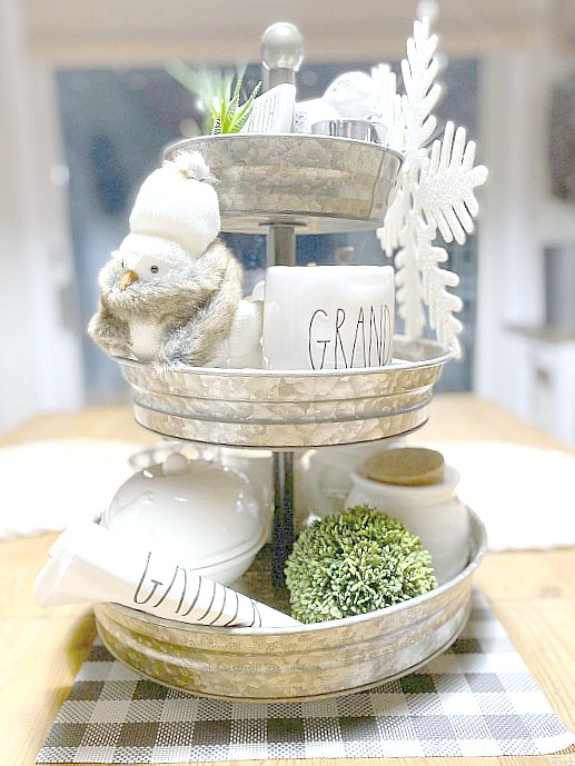 Decorate a Tiered Tray in Neutral Colors for Winter