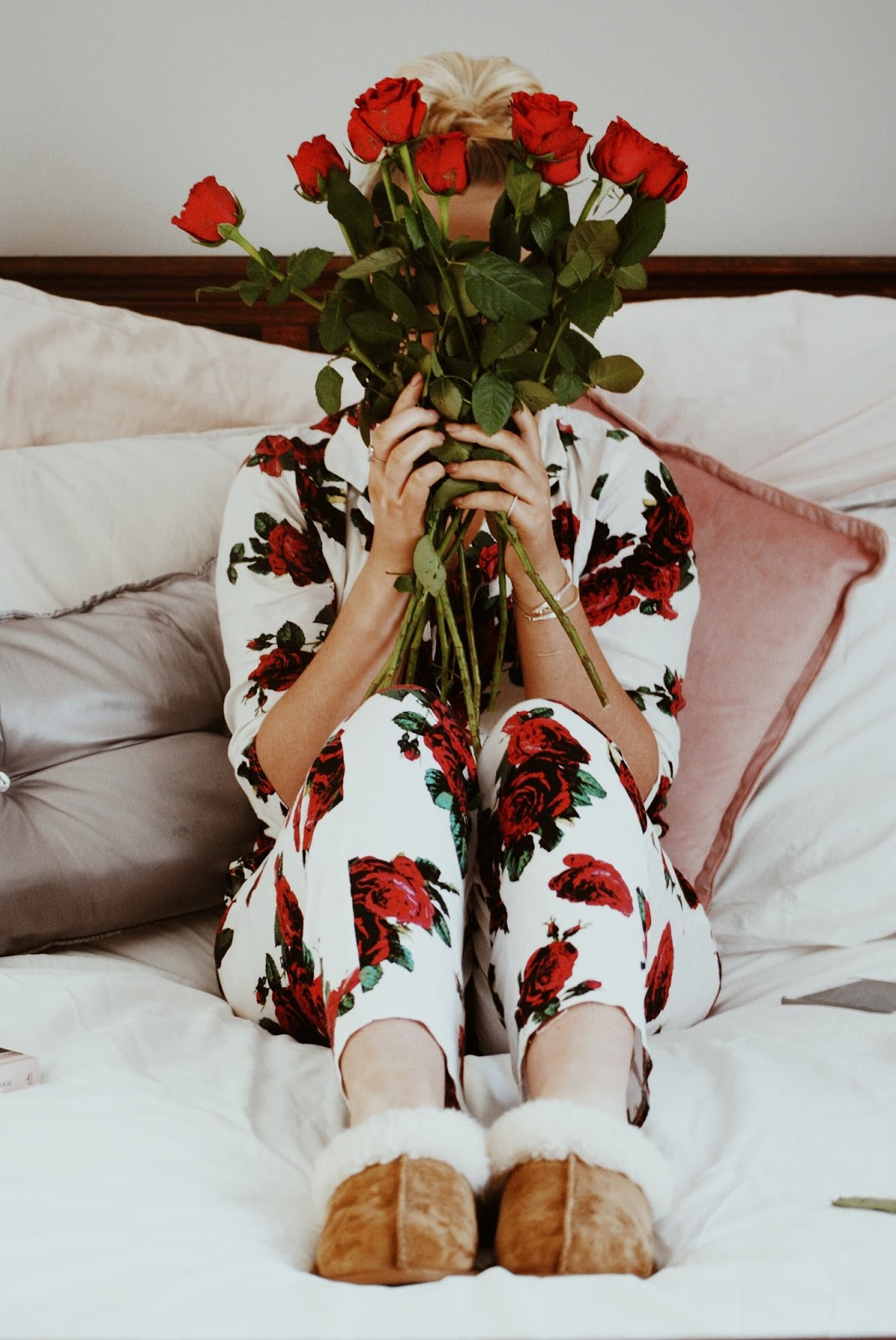 a girls first love bed red roses photography rose pyjamas ugg slippers cosy night in