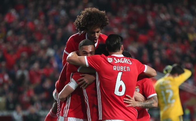 Festejos do golo do Benfica frente ao Braga