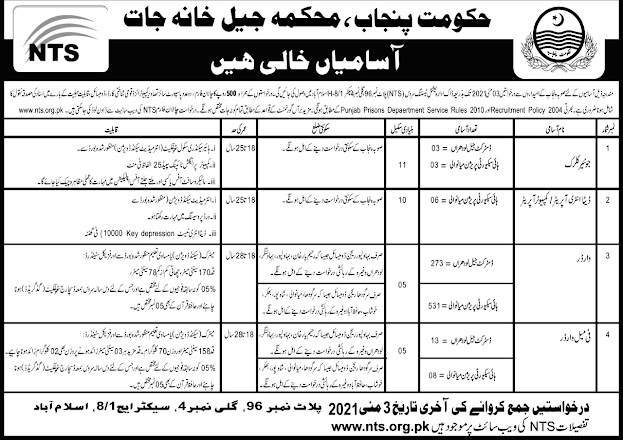 Latest Prison Police April 2021-Jail Police Government Jobs 2021-National Testing Service  NTS Police Department Jobs 2021-Download Application Form