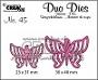 """2 stansen voor """"open"""" vlinders. 2 dies for """"open"""" butterflies."""