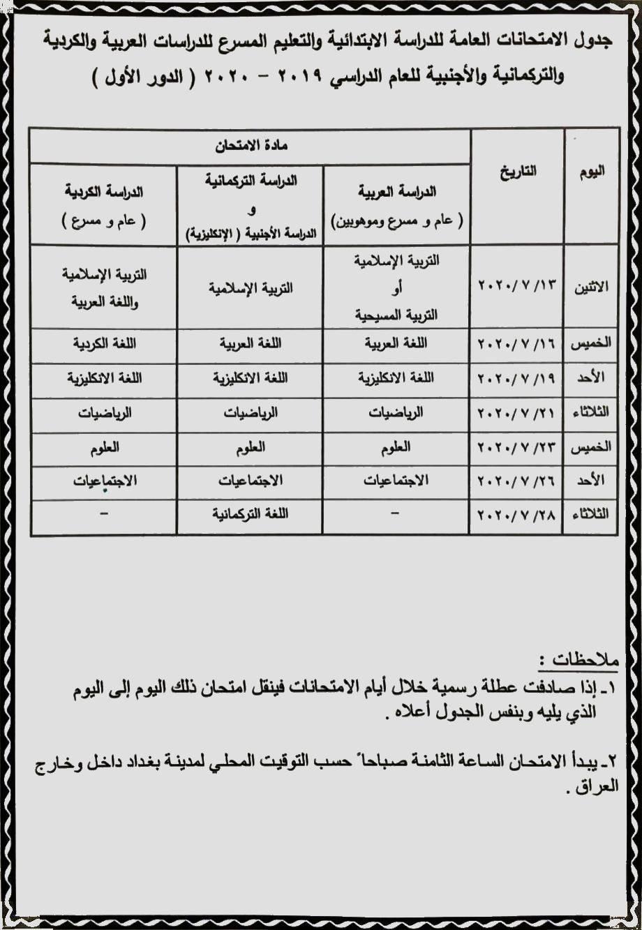 جدول امتحانات الصف السادس الابتدائي الدور الاول 2020 وزارة التربية العراقية 95731300_1475997505942258_4548453748959084544_o