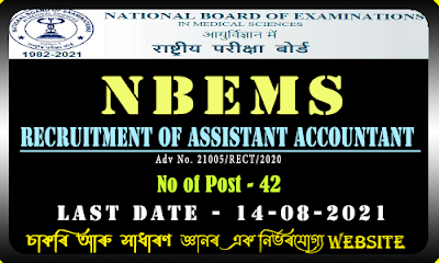 NBEMS Recruitment 2021(142 Assistant Post)