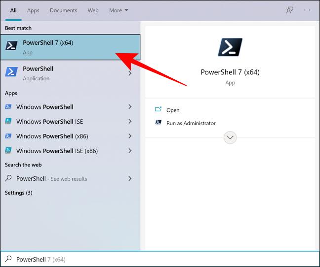 ابحث في PowerShell في Windows Search