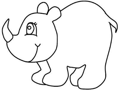 Hình tô màu con tê giác dễ thương