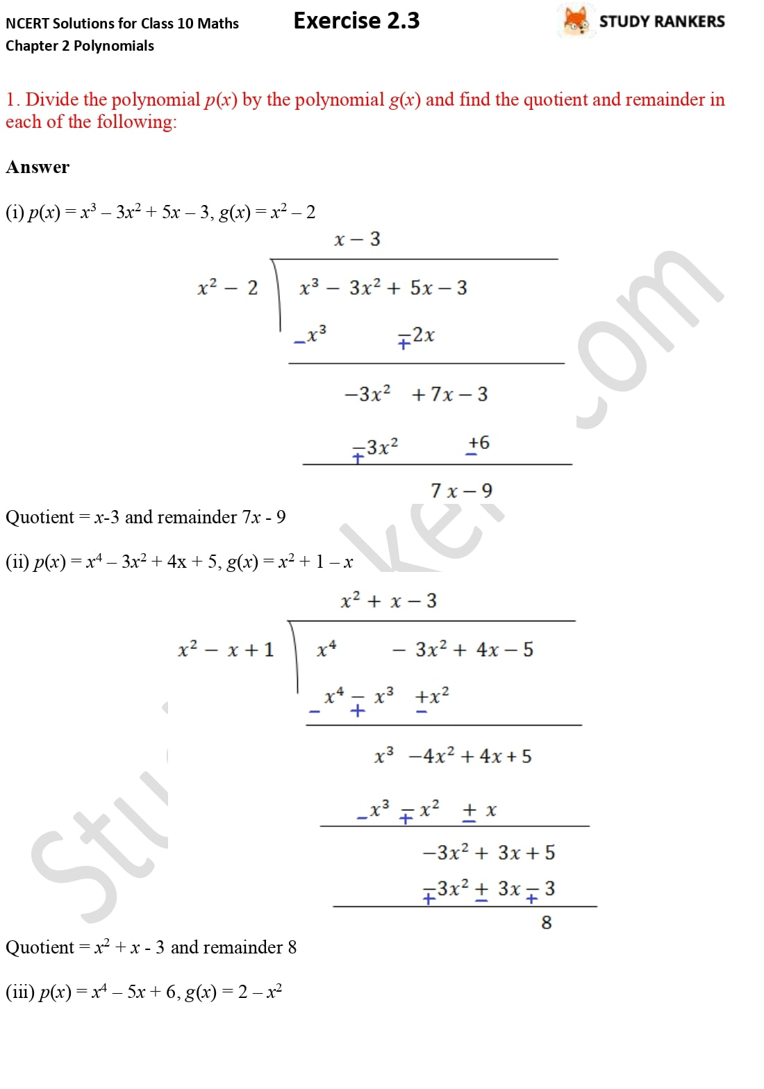 NCERT Solutions for Class 10 Maths Chapter 2 Polynomials Exercise 2.3 1
