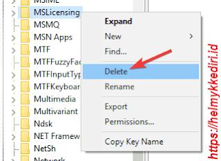 hapus folder MSLicensing