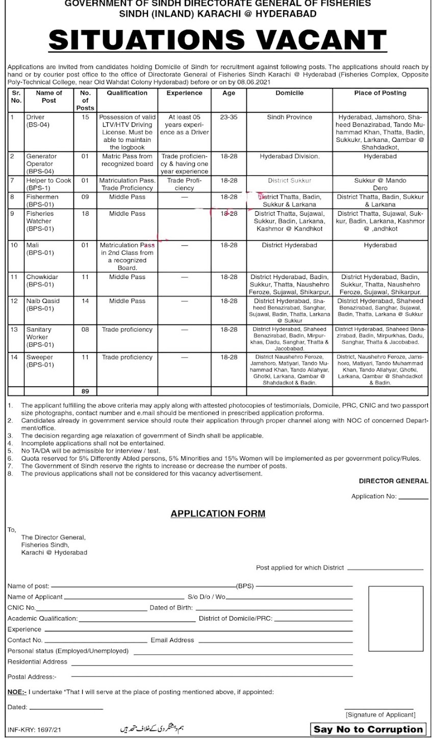 Latest Jobs in Livestock and Fisheries Department 2021- BPS 01-04