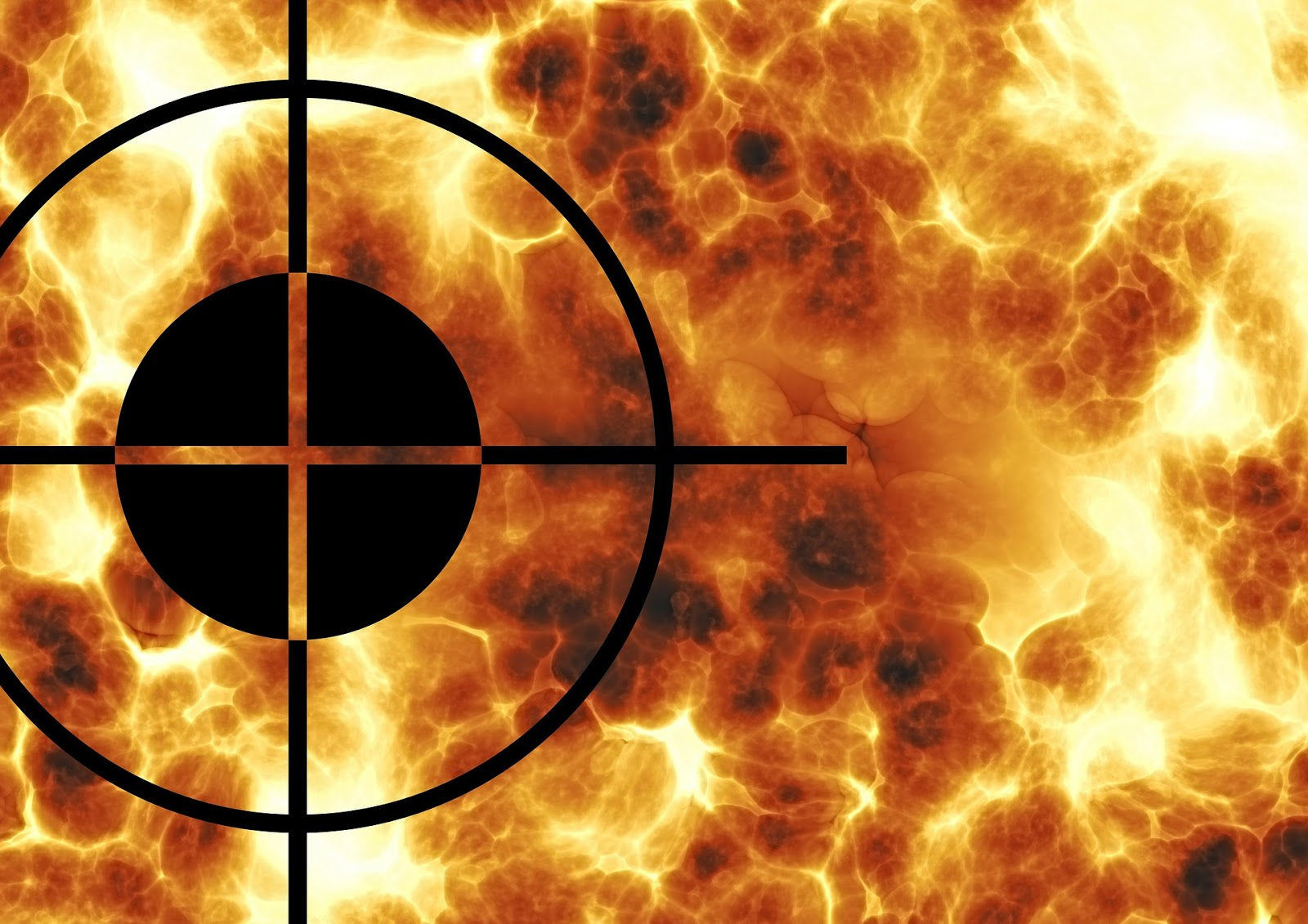 A black crosshairs in front of a wall of fire to illustrate a blog post about movies about the war on terrorism