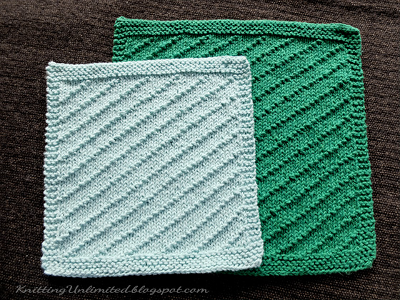 Diagonal Seed Knitted Dishcloth Pattern