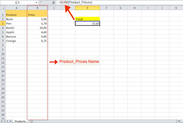 excel define name