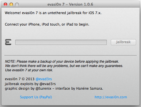Evasi0n7 v1.0.6 for iOS 7.0.6 Jailbreak