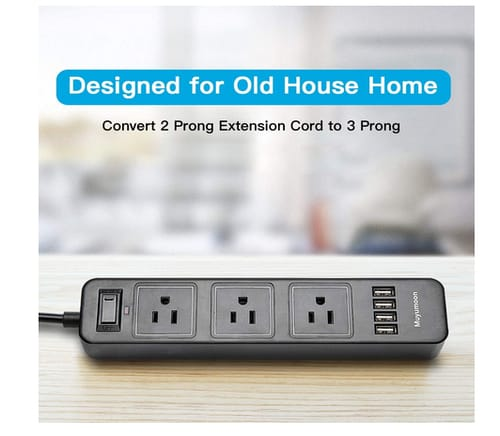 Muyumoon 2 Prong Power Strip with 3 Outlets and 4 USB