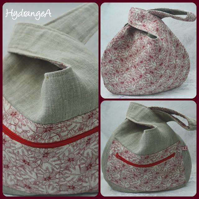 knot-bag-grab-bag en lino crudo y lino con flores rojas