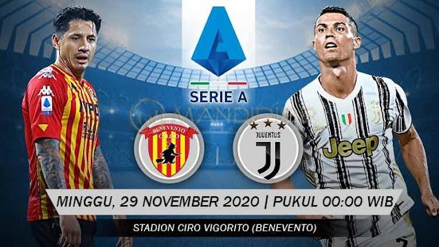 Prediksi Benevento Vs Juventus, Minggu 29 November 2020 Pukul 00.00 WIB @ RCTI