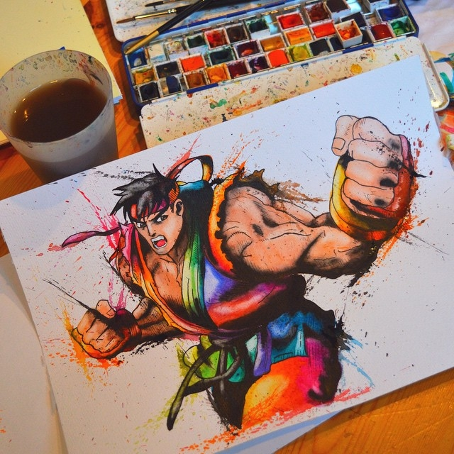 02-Ryu-Street-Fighter-Lisa-Marie-Melin-LittleGeekyFanArt-Fan-Art-Comic-Manga-and-Video-Game-Paintings-www-designstack-co