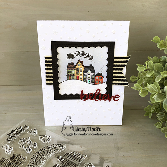 Believe by Becky features Snow Globe Scenes, Main Street Christmas, and Petite Snow Stencil by Newton's Nook Designs; #newtonsnook