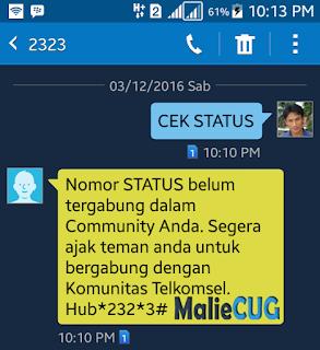 Nomor STATUS belum tergabung dalam community anda.Segera ajak teman anda untuk bergabung dengan Komunitas Telkomsel. Hubungi *232*3#