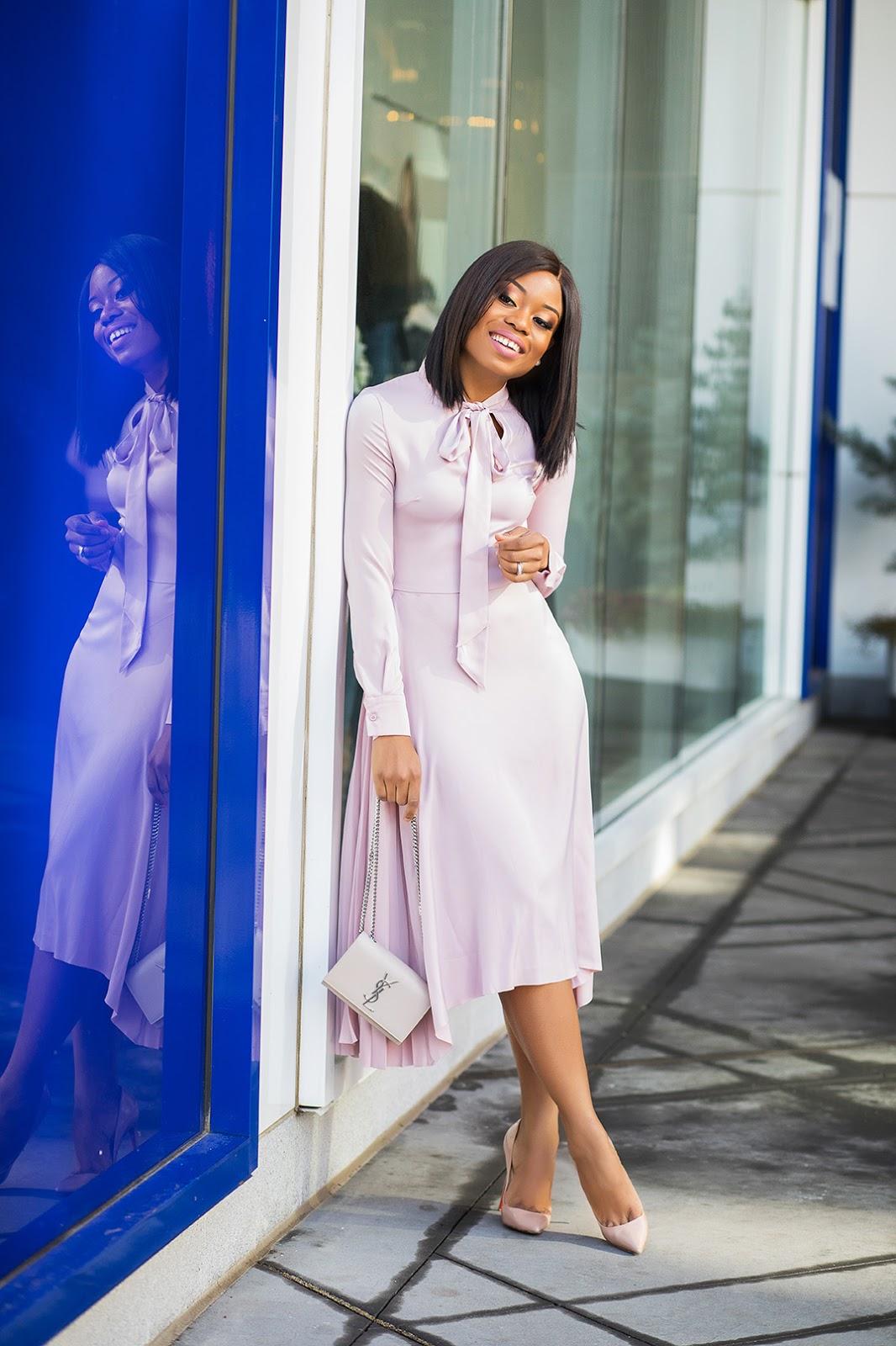 hm satin pink dress,  www.jadore-fashion.com