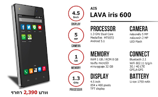 """cara flash Lava Iris 600"""