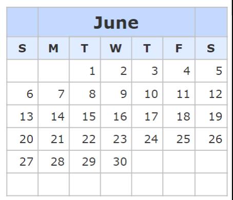 Kalender June 2021