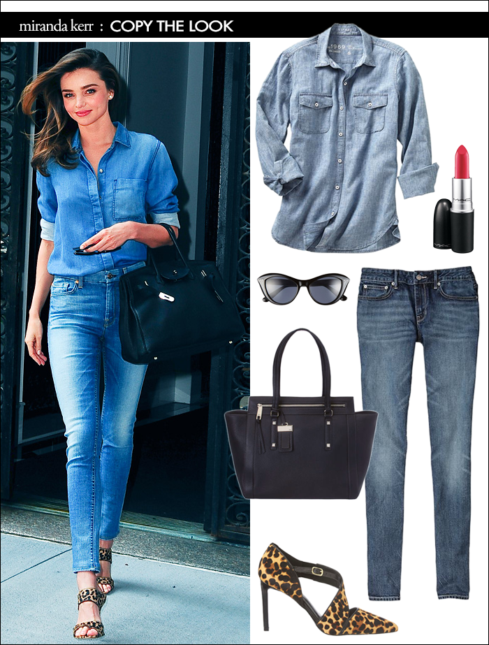 miranda kerr, leopard heels, satchel, skinny jeans, how to wear denim on denim, how to wear denim shirt, miranda kerr