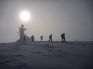 Cairngorm summit on Nottingham University club winter skills and winter mountaineering weekend 2018