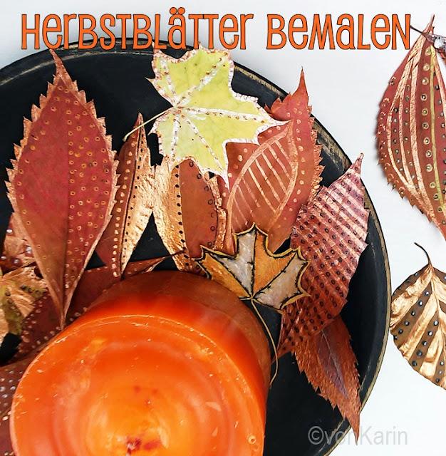 Titelbild bemalte, gepresste Blaetter und orange Kerze