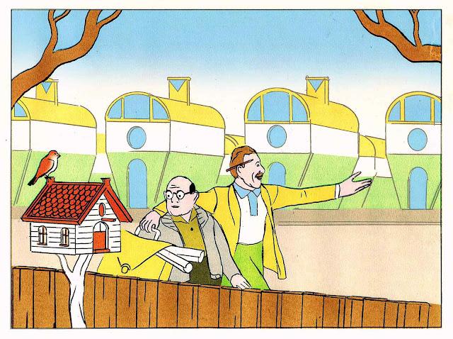 an Olivier Schrauwen magazine illustration about home buying