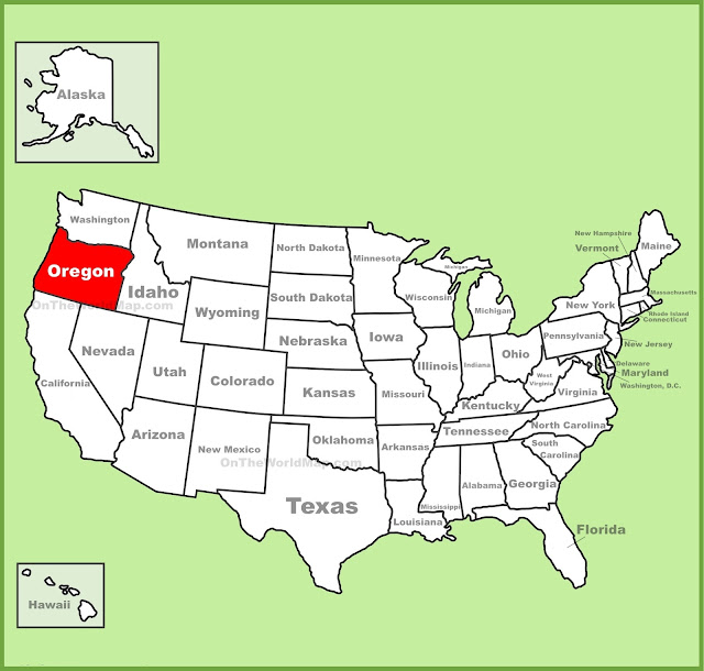 Oregon in us map