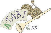 TABI logo with trumpet and cogs