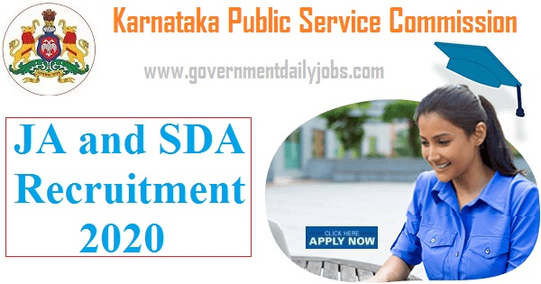 KPSC Jr Asst/ SDA Recruitment 2020