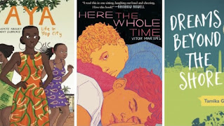 Three book covers. From left to right Aya: Life in Yop City, Here the Whole Time and Dreams Beyond the Shore