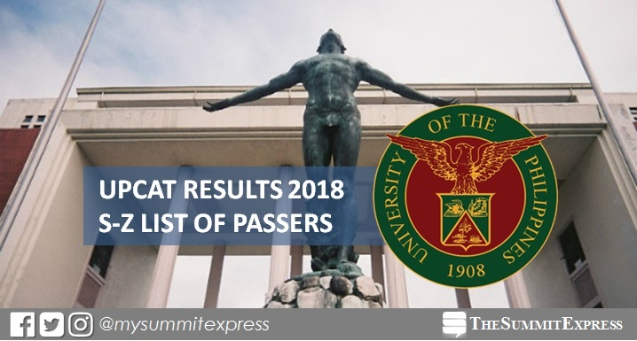UP releases 2018 UPCAT Results: S-Z Passers
