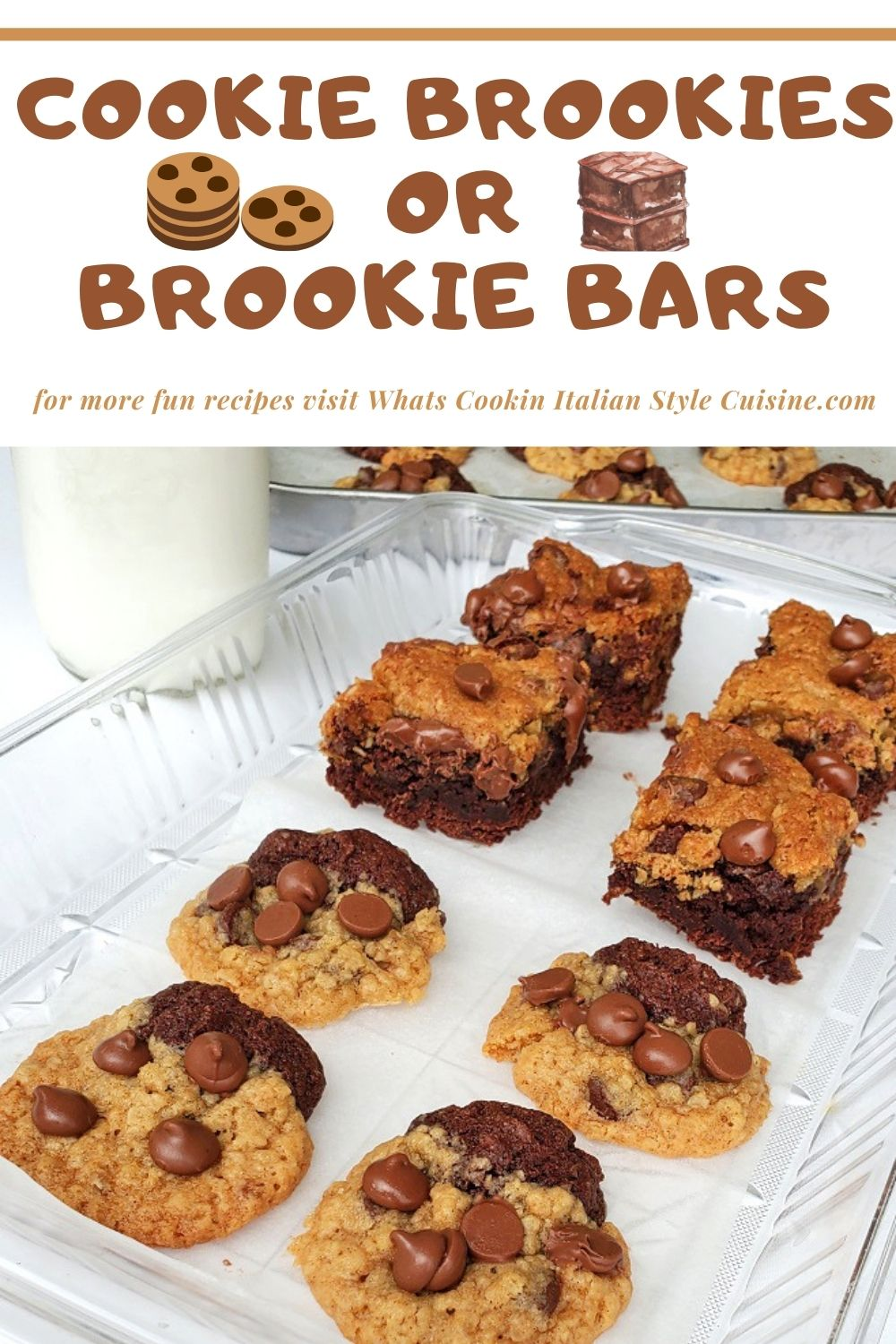 pin for later how to make a Cookie Brookie half brownie half chocolate chip cookie