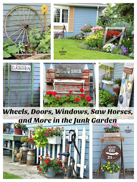 Awesome Backdrop Ideas for Junk Flower Gardens #verticalinterest  #vintage #junkgarden #gardenjunk