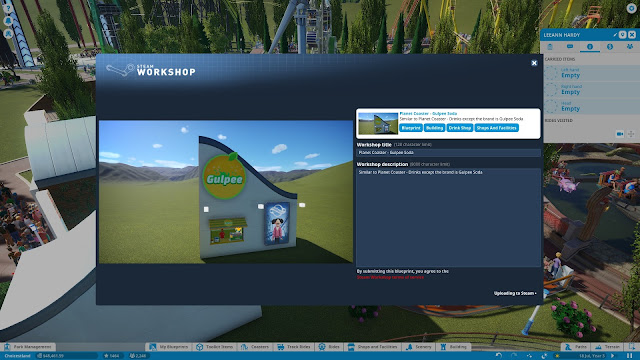 Screenshot of sharing content on the Steam Workshop in Planet Coaster