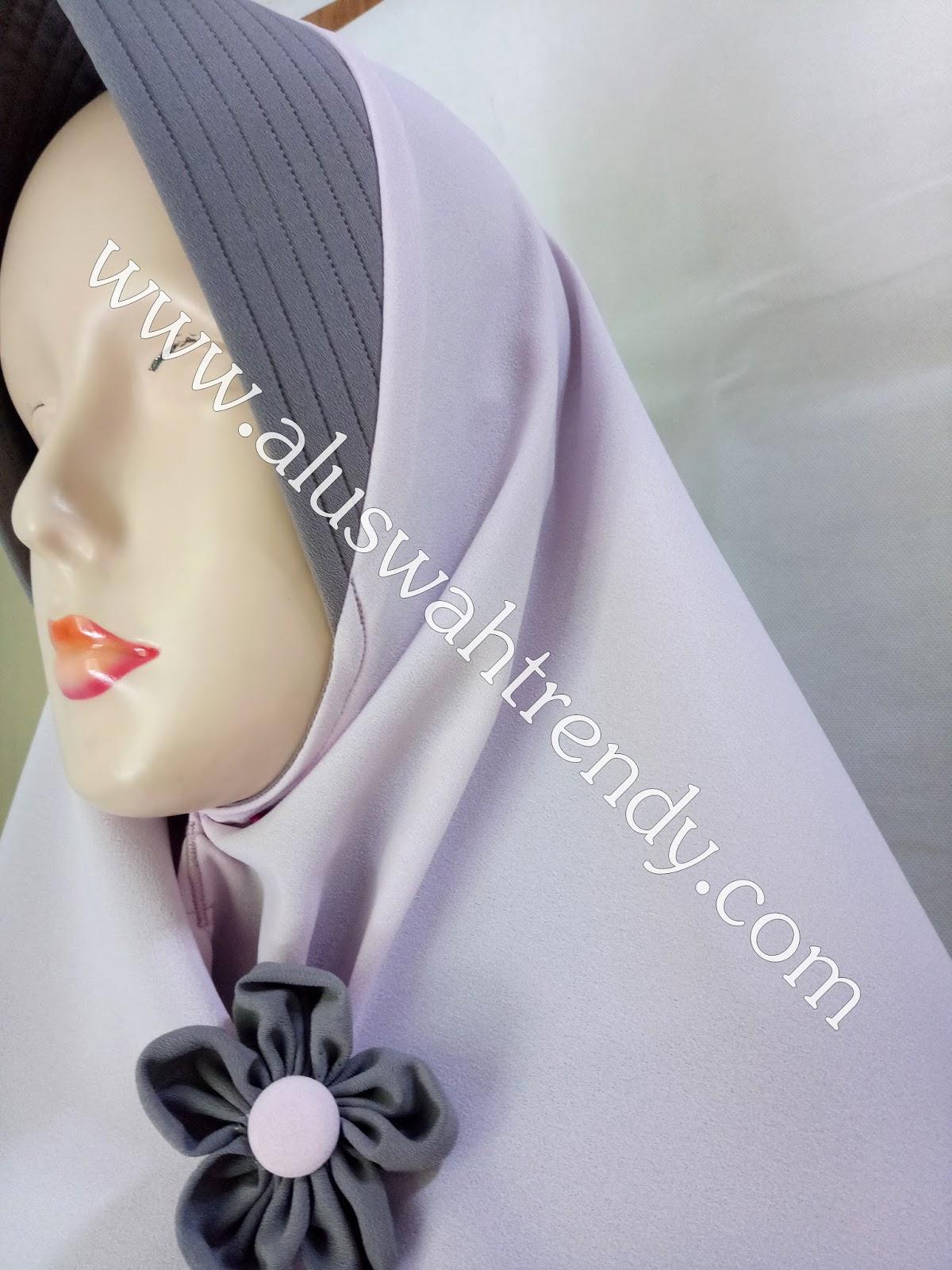 Jilbab Khimar Bolak-Balik Dua Warna Abu Muda Tua 17