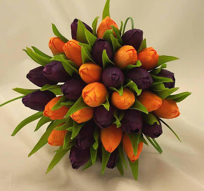 purple and orange tulip wedding bouquet