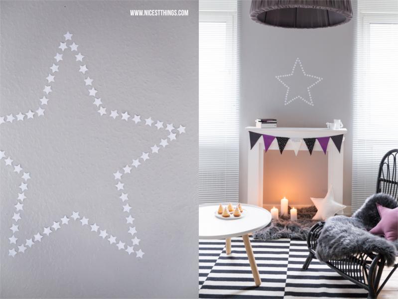 Kaminumrandung mit Stoff Wimpelkette mit Sternen in Schwarz Weiß