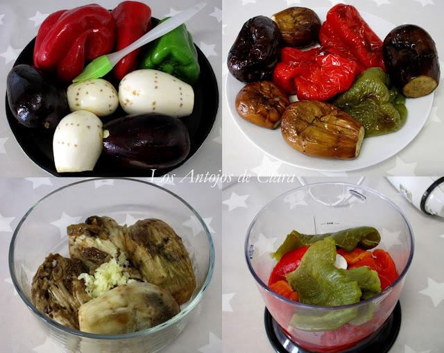 Preparación baba ganoush con pimientos asados