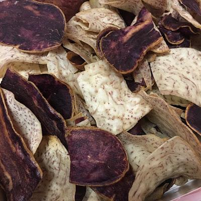 Freshly made taro and sweet potato chips