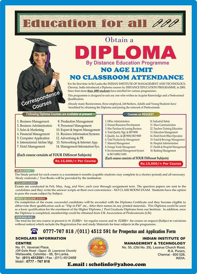 Diplomas for WORKING ADULTS (No Classes) - Distance Learning.