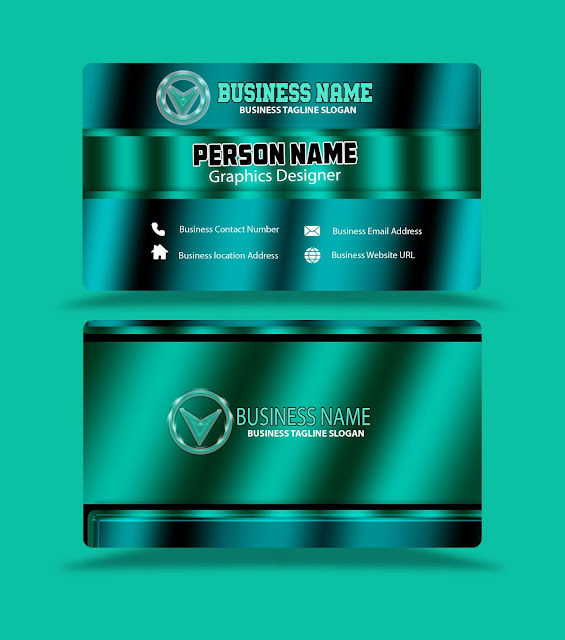 turquoise-color-reflection-business-card-template-psd-eps-free-download