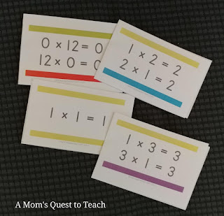 multiplication cards from Page A Day Math