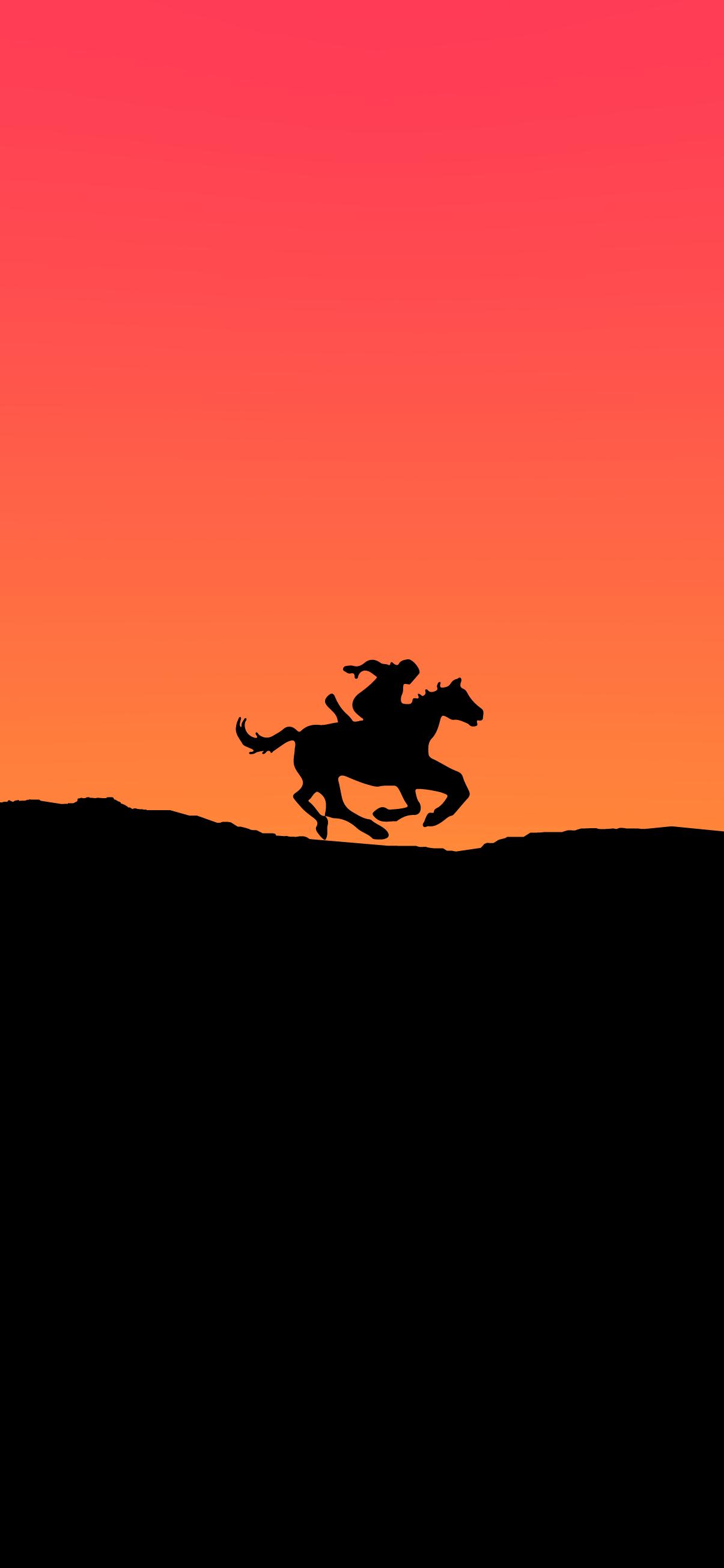 horse running warrior silhouette minimalist background wallpaper 4k for iphone
