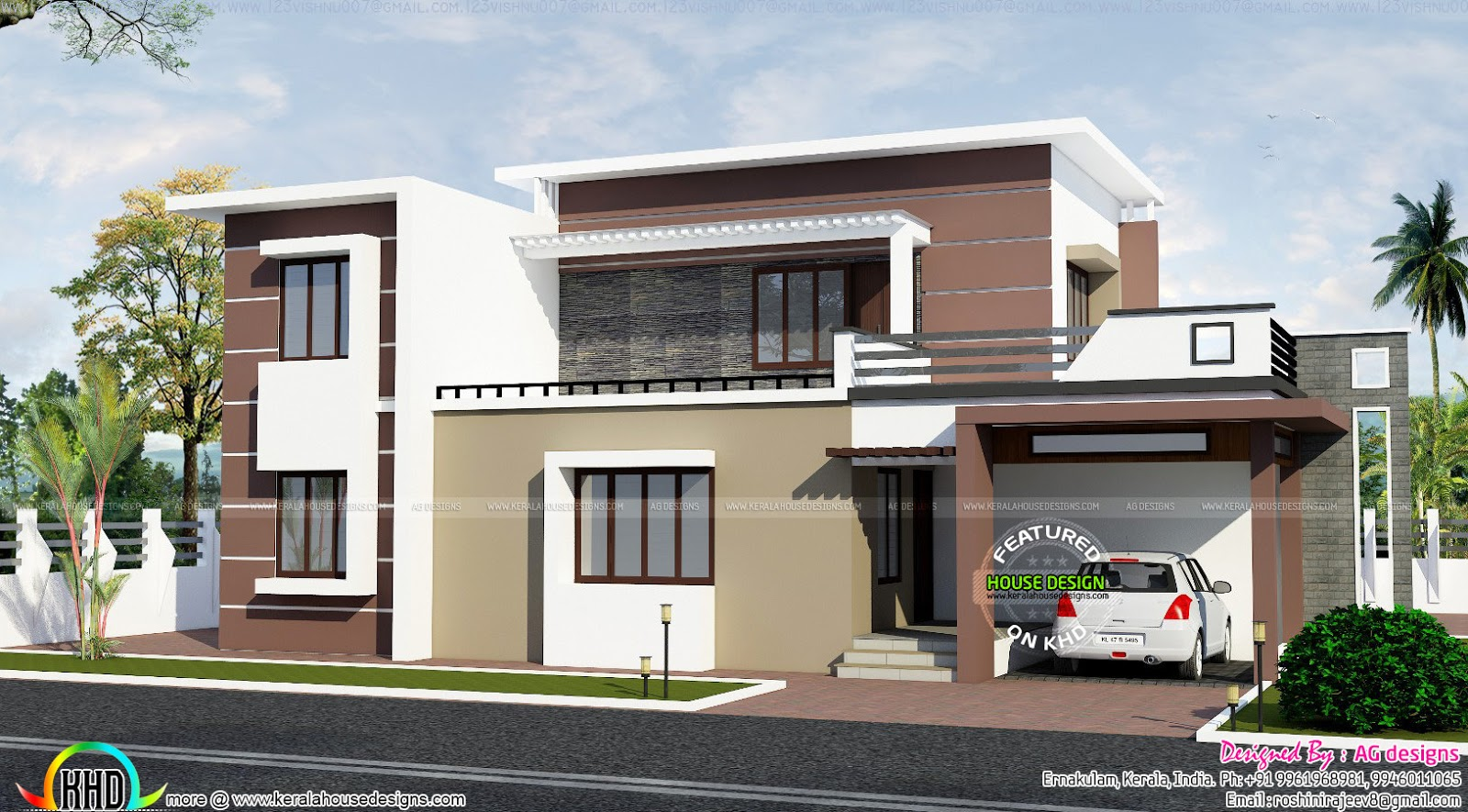 2200 sq ft contemporary house plan kerala home design for Floor plans for 2200 sq ft homes