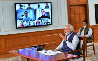 PM Narendra Modi interacts with 40 Sportspersons across the country on the situation arising due to COVID-19